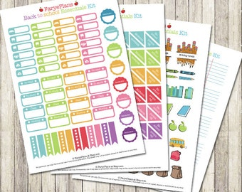 Back To School printable planner stickers for Erin Condren Lifeplanner, Filofax, Happy Planner, scrapbooking / INSTANT DOWNLOAD