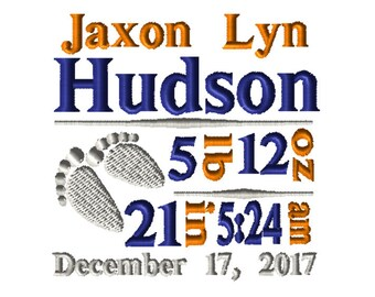 CUSTOM Birth Info Embroidery File: 5x7 Blue and Orange