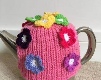 Tea cosy, croquet tea cosy, knitted tea cosy