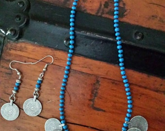 Blue Czech Seed Bead Root Beer Brown Japanese Miyuki Matte Seed Bead Necklace and Earrings with Aztec Spiral Charms
