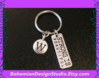 Fitness gifts, gym fitness keyring, gym keychain, women / mum fitness gift, strong is beautiful, personalised W letter charm, UK