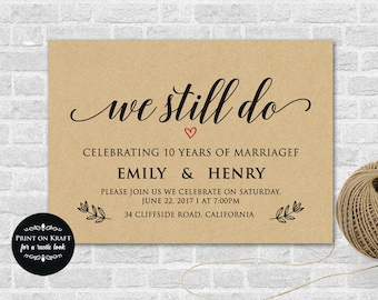 We Still Do, Vow Renewal Invitation Template - We Still Do Invitation, Microsoft Word Format (docx), Instant Download, Editable,