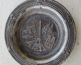 Vintage Souvenir de Paris Small Metal Wall Hanging with Original Shop Label