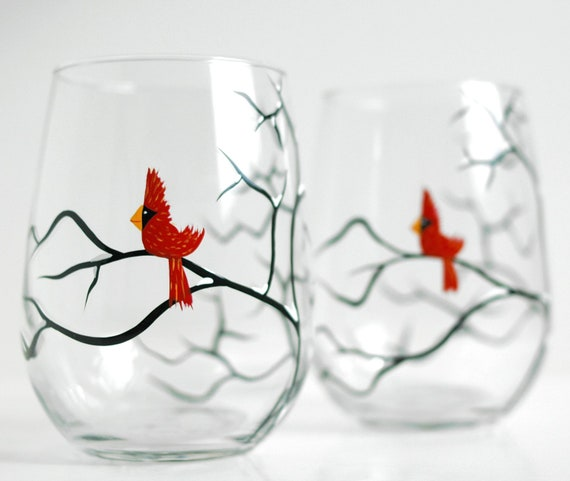 Red christmas cardinal stemless wine glasses set of 2 hand for Painted stemless wine glasses