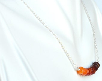 Natural Fire Opal Necklace with Sterling Silver and Heart Clasp for October Birthstone Jewelry