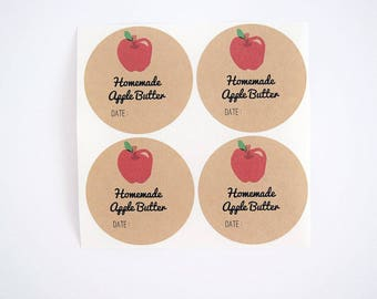 Apple Butter Label for Canning Jars, Mason Jar Labels for Regular and Wide Mouth Jars, Canning Supplies, Homemade Gift Labels, Jar Stickers