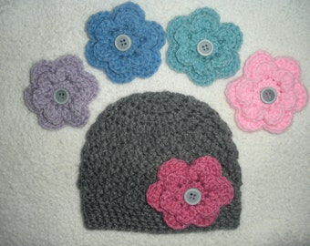 Baby hat for girls with interchangable flowers, crochet baby beanie, baby girl gifts, baby girl hat, baby shower gifts, newborn photo prop