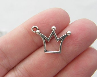 10 Crown charms antique silver tone CA10
