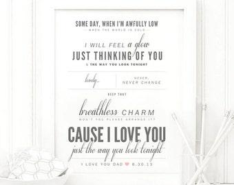"Frank Sinatra ""The Way You Look Tonight"" - Valentine's, Wedding Gift, Paper Anniversary Gift, Song Lyrics, Art Print"