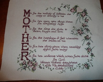 Tribute To Mother Cross Stitch Completed Piece