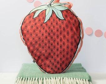 Strawberry cushion, fun fruit cushion, strawberry pillow, bright fruit cushion for modern decor, red cushion, berry cushion, kids room