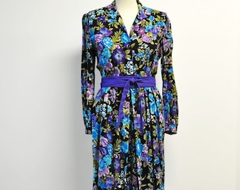 vintage 80s Plum floral size 6 petite long sleeve shirt waist dress--Willi Dress