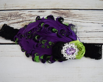 Handcrafted Purple Lime and Black 1920s Inspired Headband - Fancy Headband - Flapper Girl Headpiece - Couture Feather Toddler Headband