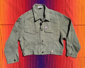Vintage Guess ? Olive Green Denim Jacket//  Women's M Made in USA