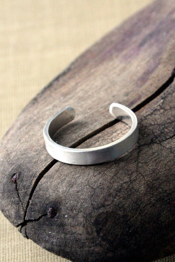 Sterling Silver Toe Ring- Textured Flat-3mm
