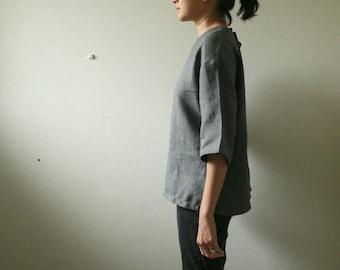 READY TO SHIP / linen blouse - billie / size M / grey linen shirt / women / linen clothing / organic / made in australia / pamelatang