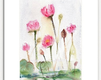 Handmade Original Pink Lotus, Small Painting, Water Lilies Wall decor, Floral Gift Art, Cherry blossoms in Watercolor Gift Art