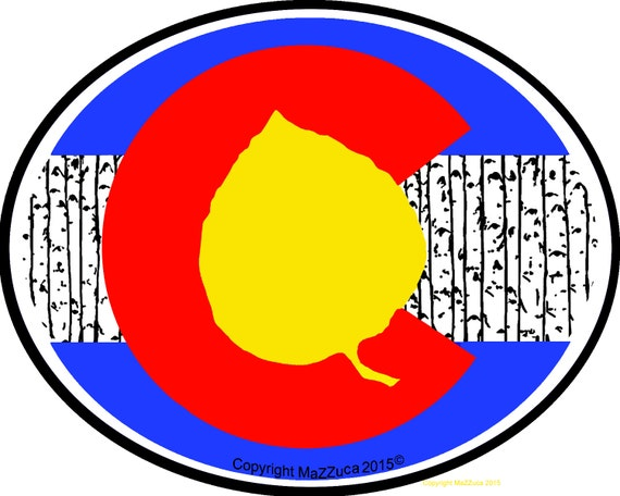 Our first iconic aspen leaf colorado state flag by artist mazzuca copyrighted collectable pop art die cut uv protected vinyl stickers