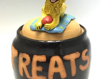 Dog Treat Jar with Golden Retriever, Squirrel, and Ball