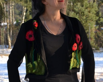 Nuno felted jacket, poppies, Wearable Art, nuno felt clothing, OOAK, wool coat, felt clothing,  felted clothing, Women's Clothing, Clothing