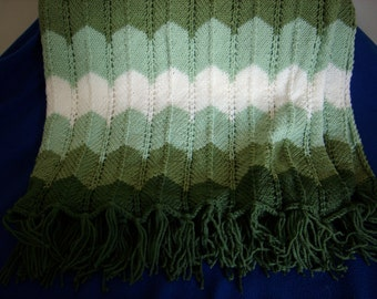 Shades of Green Knitted Afghan