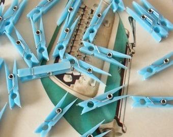 Miniature Plastic Clothespins / Set of Twenty Four / Light Blue