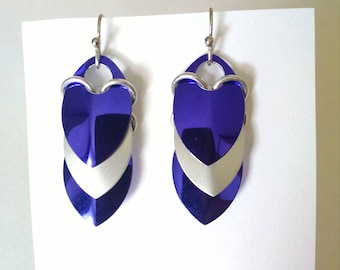 Shiny Dragon Scale Earrings - Purple and Silver