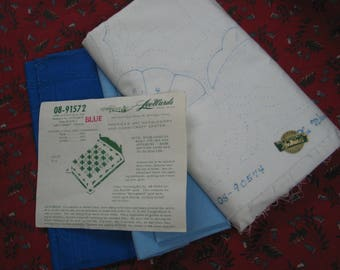 Vintage LeeWards *LAZY DAISY* Applique Embroidery Quilt Top Kit #08-91572
