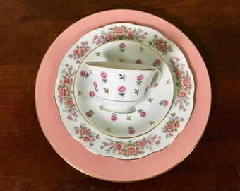 Mismatched Pink Floral China Place Setting - Dinner Plate, Salad Plate, Tea Cup & Saucer - 4 Sets Available