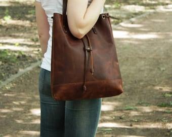 Sale-15 Leather bag. Handmade. leather tote bag, women leather bag, leather shoulder bag, laptop bag
