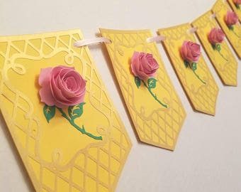 Enchanted rose banner,  enchanted rose party, beauty and the breast,  belle party,  beauty and the beast decoration,  baby shower decor