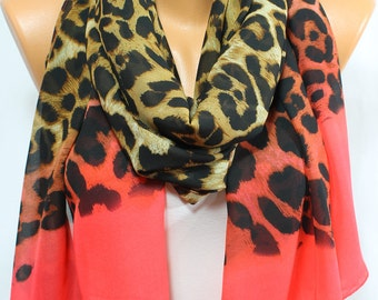 Leopard Scarf Coral Scarf Animal Print Scarf Light Weight Silky Chiffon Scarf Spring Scarf Summer Scarf Gift Ideas For Her For Mom ESCHERPE