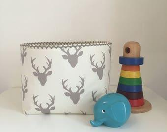 Fabric Storage Basket, Nappy Caddy, Diaper Basket, Nursery Storage, Modern Baby Grey Deer