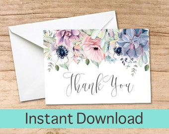 Succulent Thank You Card /  Watercolor Boho Succulent Printable Thank you Cards / Boho Chic Instant Download, Bridal Shower Thank You Card