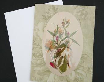 Pressed flower greeting card (blank) Shooting Star