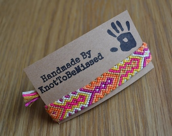 Handmade Woven Aztec Friendship Bracelet Pink Purple Yellow Orange