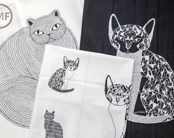 Catnip Black and White Panels Bundle, 3 Panels, Gingiber, 100% Cotton, Moda Fabrics, 48230, 48231