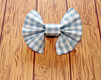 Blue Plaid Bow Tie Dog Collar Accessory