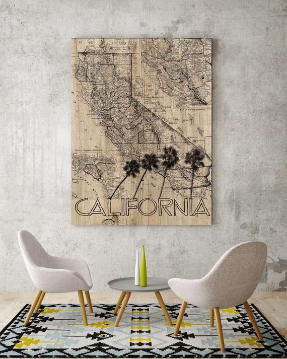 "California Old Map. Beige and Black California Old Map Extra Large Canvas Art Print up to 72"" by Irena Orlov"