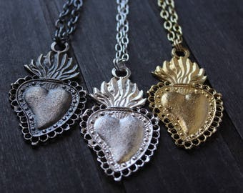 Large Sacred Heart EXVOTO Necklace / Long Milagro Neckace / Flaming Heart Milagro Jewelry / Ex-Voto Pendant / Antique Silver Pendant