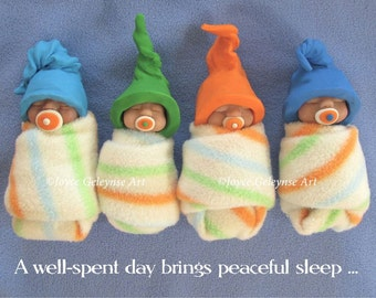 Art Print, OOAK Clay Babies, Well Spent Day Brings Peaceful Sleep, Polymer Clay Babies in Bed, Midwife, Doula Gift Idea, Free Shippingpin