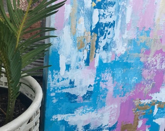 """Original Abstract Painting Canvas Art 11 X 14 RiddeiToCreate Lauren Riddei """"HAPPY THOUGHTS"""""""