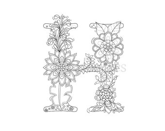 Adult Coloring Page Floral Letters Alphabet A Hand