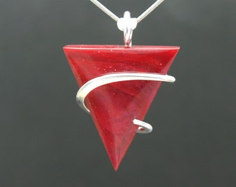 Bold Candy Red Bowlerite Cold Forged Pendant