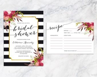 Bridal Shower Invitation, Printable Bridal Shower Invites, Botanical Flower Rose Bridal Shower Invitation, Black and White