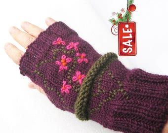 Hand Knitted Fingerless, Knit Hand Warmers, Purple Arm Warmers, Wrist Warmers, Spring Gift For Her, Floral Embroidered Fingerless Gloves