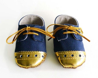 Baby Shoes Boy or Girl Navy Blue Canvas with Brogued Gold Leather Soft Sole Shoes