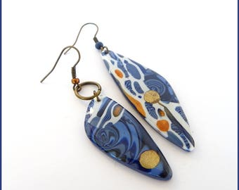 Earrings blue and white polymer clay resin bronze stroppel separated fantasy