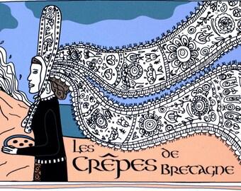 French Country Kitchen Art Print Illustrated Recipe 'Crêpes de Bretagne' 8x10 Blue