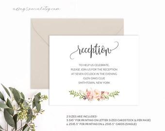 Reception card etsy wedding reception card template pink boho floral printable reception card vistaprint uprinting stopboris Gallery